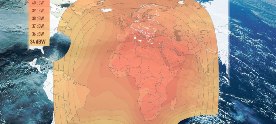 idirect Eutelsat E10A coverage footprint